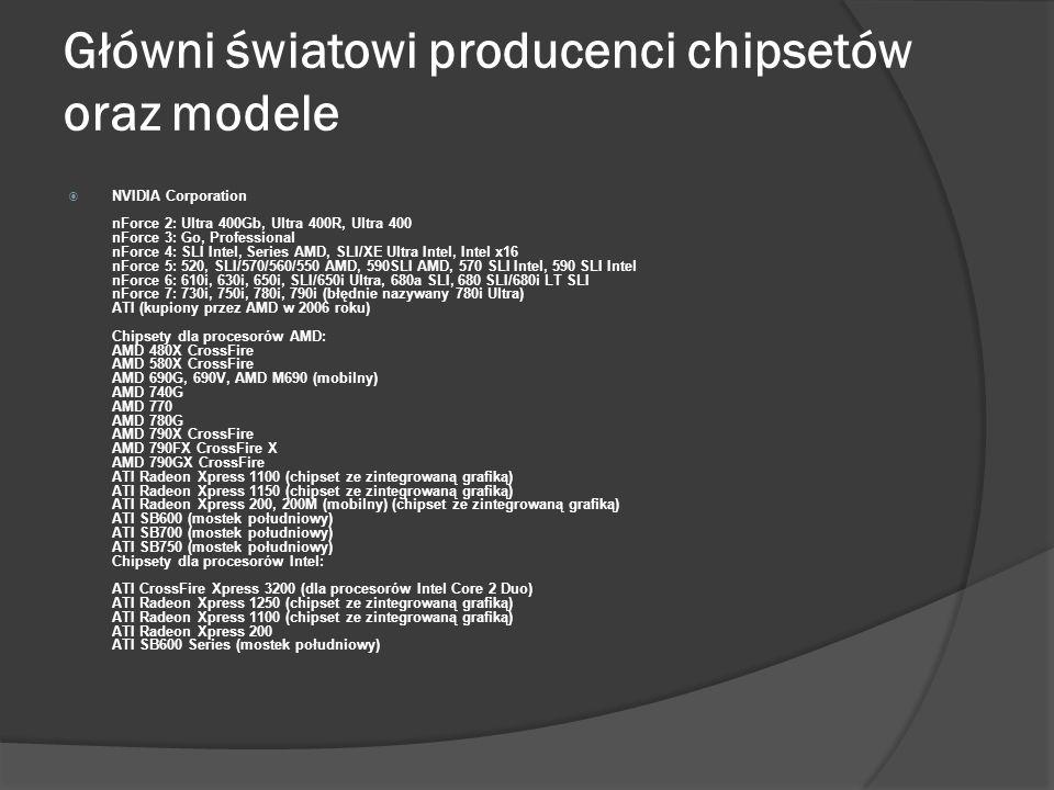 Główni światowi producenci chipsetów oraz modele