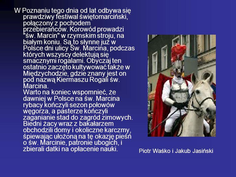 W Poznaniu tego dnia od lat odbywa się prawdziwy festiwal świętomarciński, połączony z pochodem przebierańców. Korowód prowadzi św. Marcin w rzymskim stroju, na białym koniu. Są to słynne już w Polsce dni ulicy Św. Marcina, podczas których wszyscy delektują się smacznymi rogalami. Obyczaj ten ostatnio zaczęto kultywować także w Międzychodzie, gdzie znany jest on pod nazwą Kiermaszu Rogali św. Marcina. Warto na koniec wspomnieć, że dawniej w Polsce na św. Marcina rybacy kończyli sezon połowów węgorza, a pasterze kończyli zaganianie stad do zagród zimowych. Biedni żacy wraz z bakałarzem obchodzili domy i okoliczne karczmy, śpiewając ułożoną na tę okazję pieśń o św. Marcinie, patronie ubogich, i zbierali datki na opłacenie nauki.