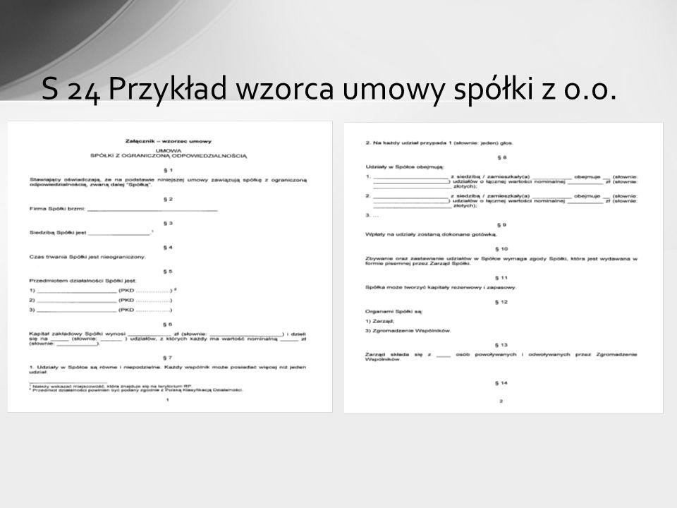 S 24 Przykład wzorca umowy spółki z o.o.