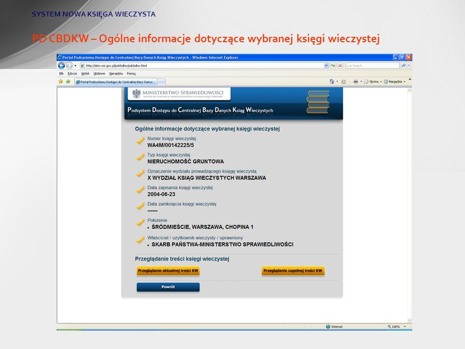 PD CBDKW – Ogólne informacje dotyczące wybranej księgi wieczystej
