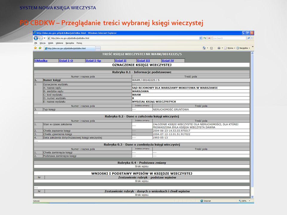 PD CBDKW – Przeglądanie treści wybranej księgi wieczystej