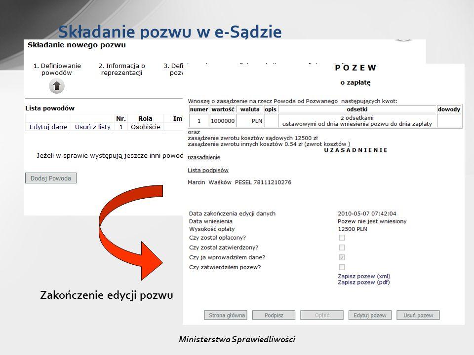 Składanie pozwu w e-Sądzie Ministerstwo Sprawiedliwości