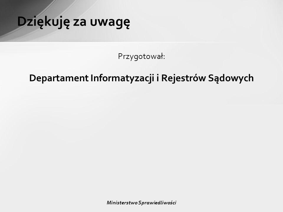 Dziękuję za uwagę Departament Informatyzacji i Rejestrów Sądowych