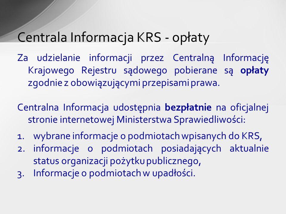 Centrala Informacja KRS - opłaty