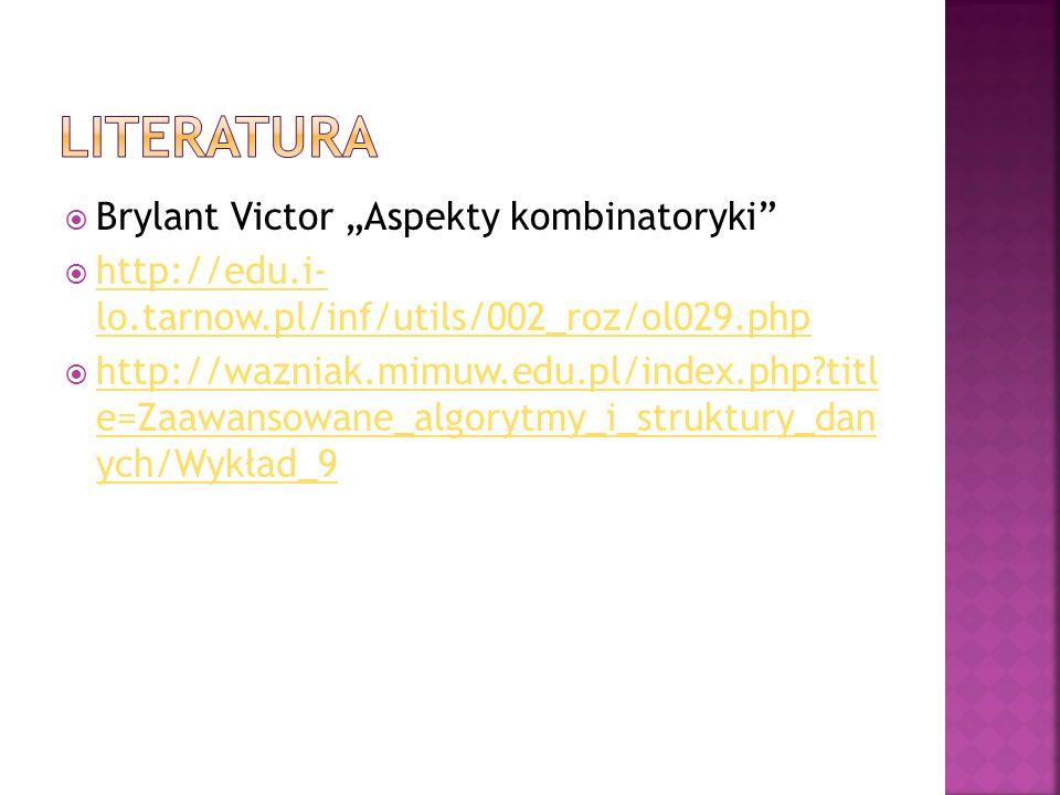 "Literatura Brylant Victor ""Aspekty kombinatoryki"