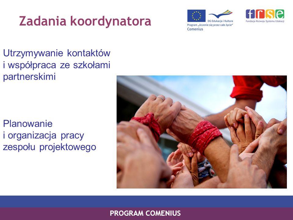Zadania koordynatora Utrzymywanie kontaktów i współpraca ze szkołami partnerskimi. Planowanie i organizacja pracy zespołu projektowego.