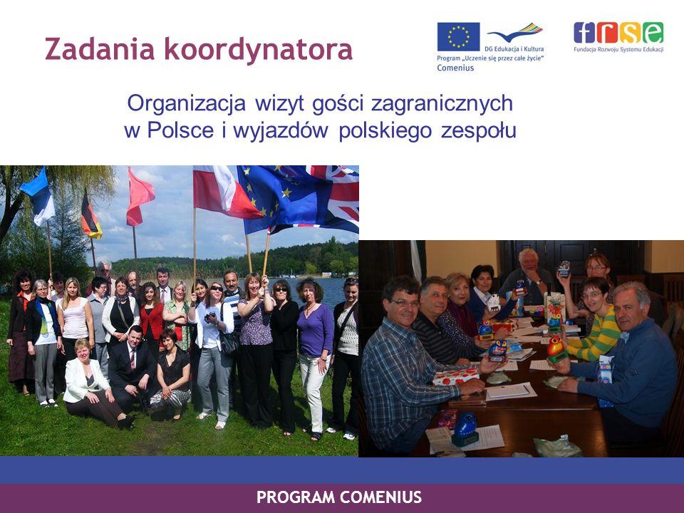 Zadania koordynatora Organizacja wizyt gości zagranicznych w Polsce i wyjazdów polskiego zespołu.