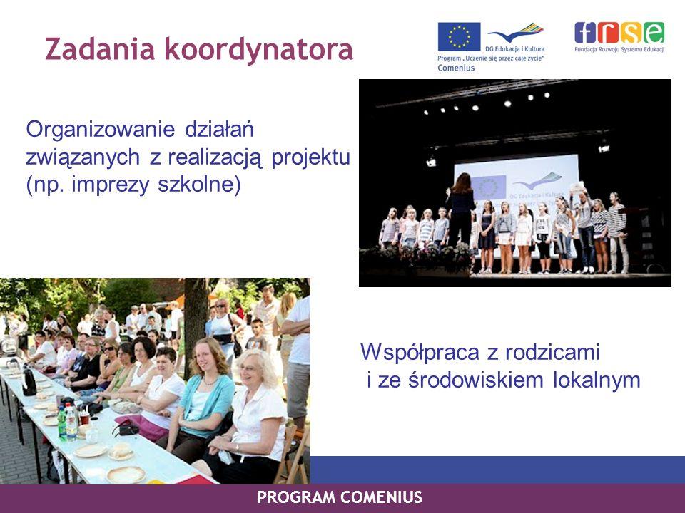 Zadania koordynatora Organizowanie działań związanych z realizacją projektu (np. imprezy szkolne)