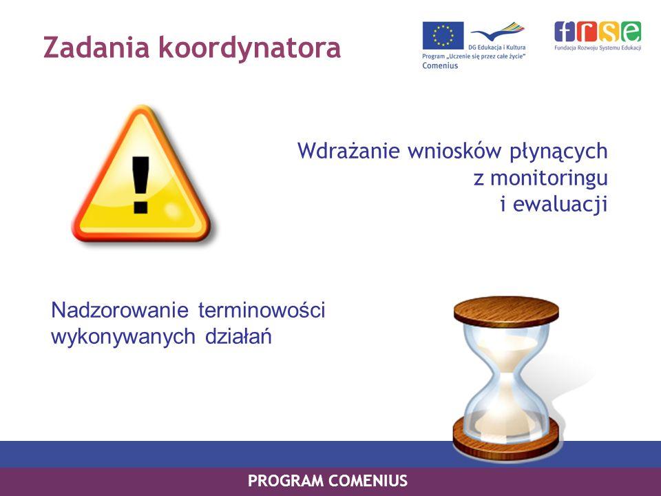 Zadania koordynatora Wdrażanie wniosków płynących z monitoringu i ewaluacji. Nadzorowanie terminowości wykonywanych działań.