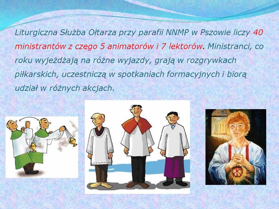 Liturgiczna Służba Ołtarza przy parafii NNMP w Pszowie liczy 40 ministrantów z czego 5 animatorów i 7 lektorów.