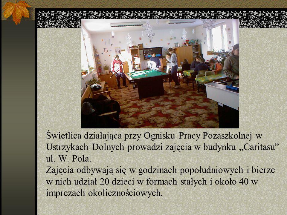 """Świetlica działająca przy Ognisku Pracy Pozaszkolnej w Ustrzykach Dolnych prowadzi zajęcia w budynku """"Caritasu ul."""