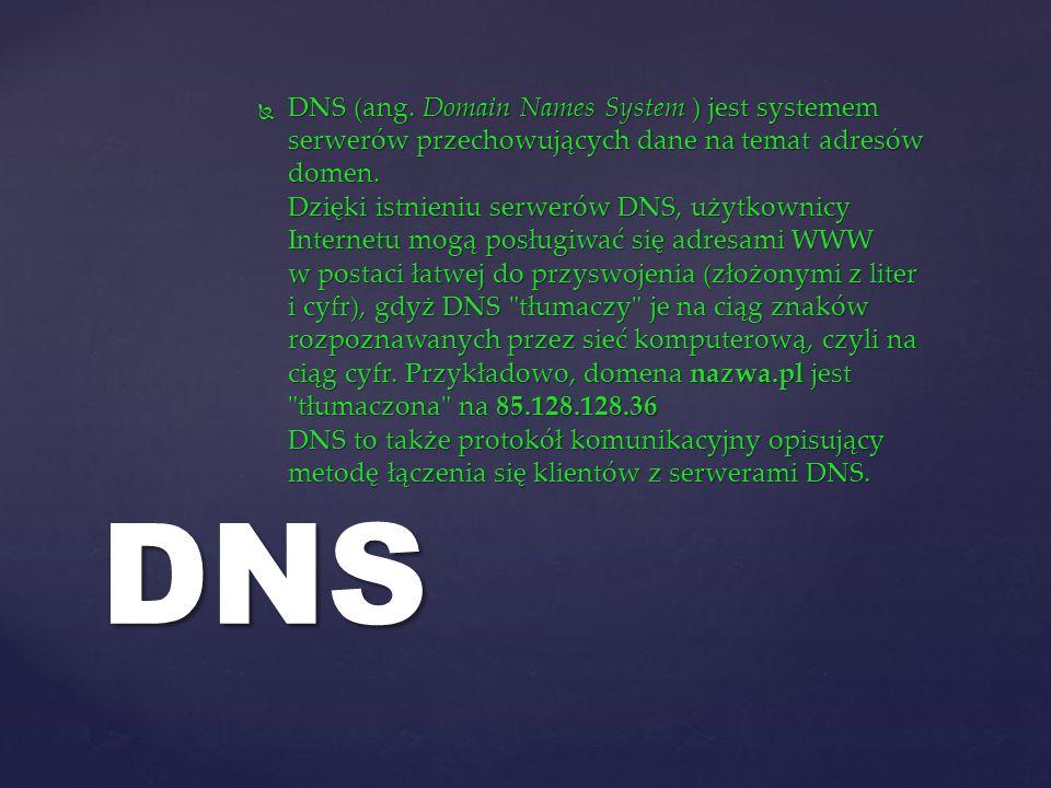 DNS (ang. Domain Names System ) jest systemem serwerów przechowujących dane na temat adresów domen. Dzięki istnieniu serwerów DNS, użytkownicy Internetu mogą posługiwać się adresami WWW w postaci łatwej do przyswojenia (złożonymi z liter i cyfr), gdyż DNS tłumaczy je na ciąg znaków rozpoznawanych przez sieć komputerową, czyli na ciąg cyfr. Przykładowo, domena nazwa.pl jest tłumaczona na 85.128.128.36 DNS to także protokół komunikacyjny opisujący metodę łączenia się klientów z serwerami DNS.