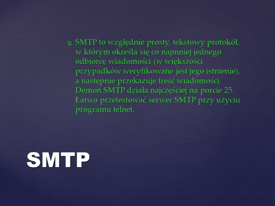 SMTP to względnie prosty, tekstowy protokół, w którym określa się co najmniej jednego odbiorcę wiadomości (w większości przypadków weryfikowane jest jego istnienie), a następnie przekazuje treść wiadomości. Demon SMTP działa najczęściej na porcie 25. Łatwo przetestować serwer SMTP przy użyciu programu telnet.