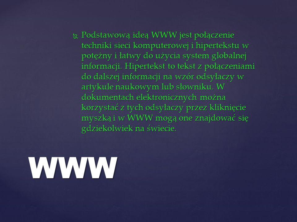 Podstawową ideą WWW jest połączenie techniki sieci komputerowej i hipertekstu w potężny i łatwy do użycia system globalnej informacji. Hipertekst to tekst z połączeniami do dalszej informacji na wzór odsyłaczy w artykule naukowym lub słowniku. W dokumentach elektronicznych można korzystać z tych odsyłaczy przez kliknięcie myszką i w WWW mogą one znajdować się gdziekolwiek na świecie.