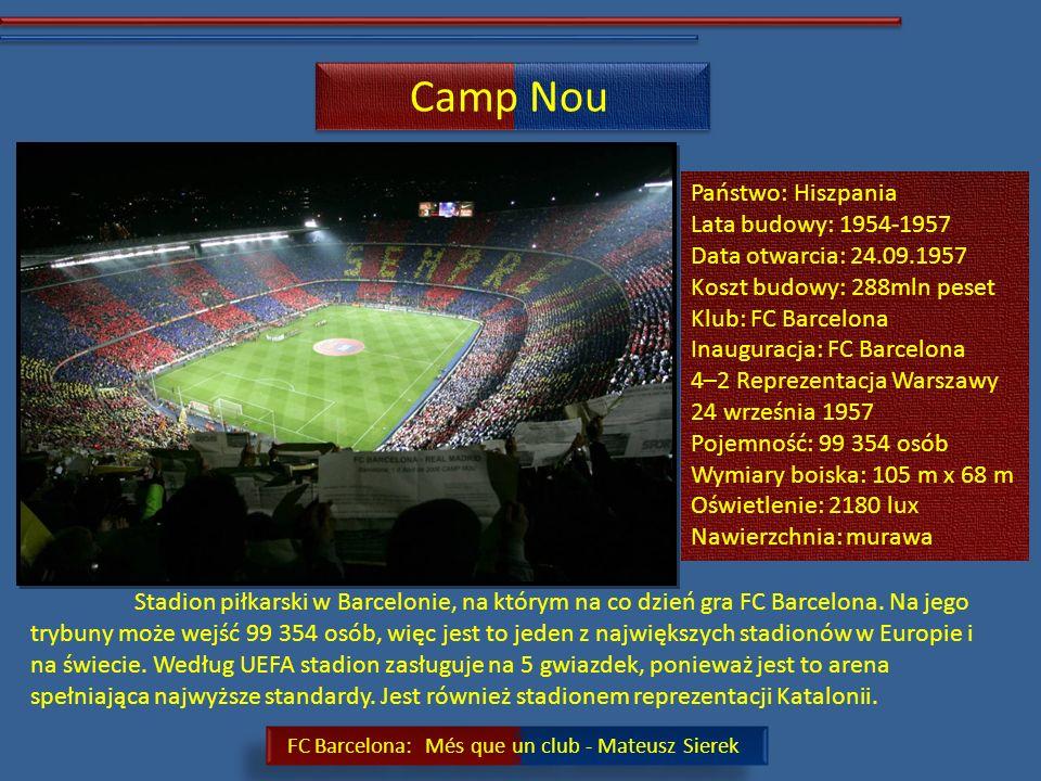 Camp Nou Państwo: Hiszpania Lata budowy: 1954-1957