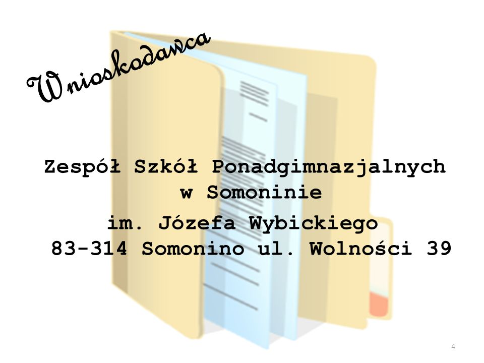 Wnioskodawca Zespół Szkół Ponadgimnazjalnych w Somoninie im.