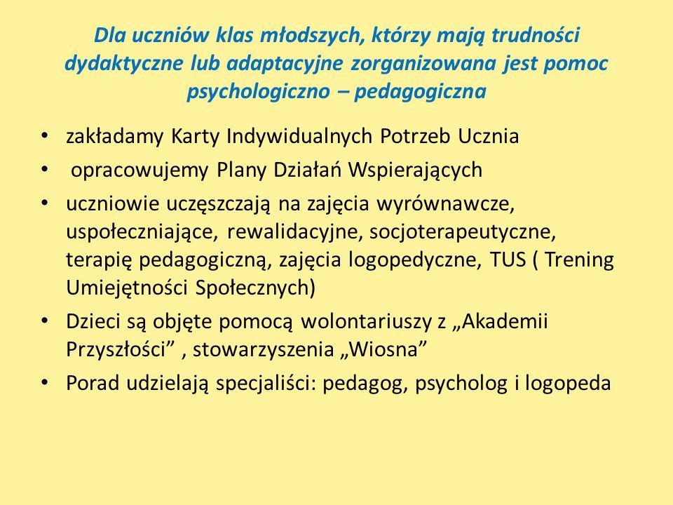 Dla uczniów klas młodszych, którzy mają trudności dydaktyczne lub adaptacyjne zorganizowana jest pomoc psychologiczno – pedagogiczna