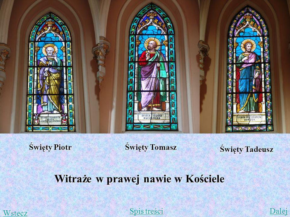 Witraże w prawej nawie w Kościele