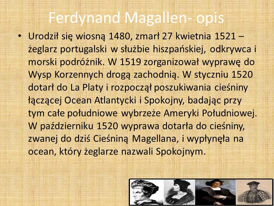 Ferdynand Magallen- opis
