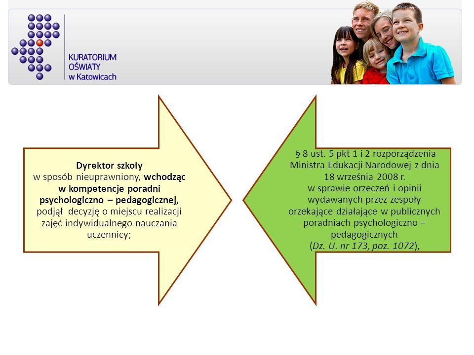 Dyrektor szkoły w sposób nieuprawniony, wchodząc w kompetencje poradni psychologiczno – pedagogicznej, podjął decyzję o miejscu realizacji zajęć indywidualnego nauczania uczennicy;