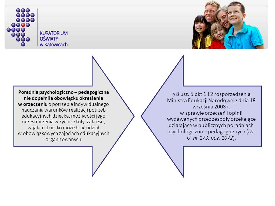 Poradnia psychologiczno – pedagogiczna nie dopełniła obowiązku określenia w orzeczeniu o potrzebie indywidualnego nauczania warunków realizacji potrzeb edukacyjnych dziecka, możliwości jego uczestniczenia w życiu szkoły, zakresu, w jakim dziecko może brać udział w obowiązkowych zajęciach edukacyjnych organizowanych