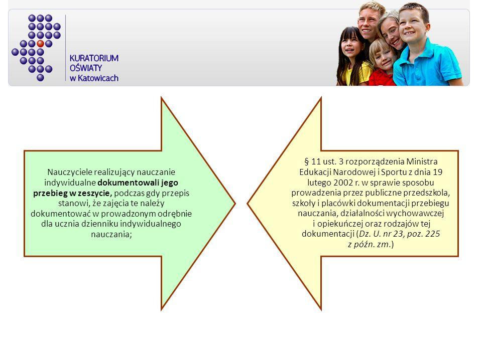 Nauczyciele realizujący nauczanie indywidualne dokumentowali jego przebieg w zeszycie, podczas gdy przepis stanowi, że zajęcia te należy dokumentować w prowadzonym odrębnie dla ucznia dzienniku indywidualnego nauczania;