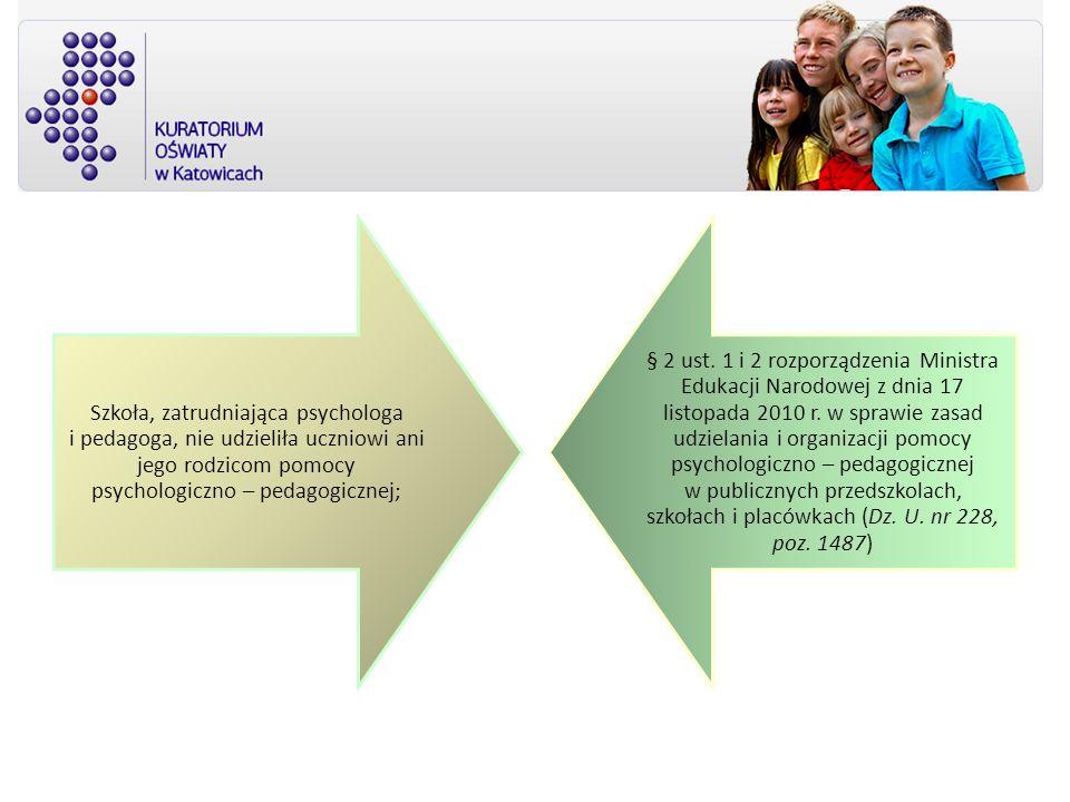 Szkoła, zatrudniająca psychologa i pedagoga, nie udzieliła uczniowi ani jego rodzicom pomocy psychologiczno – pedagogicznej;