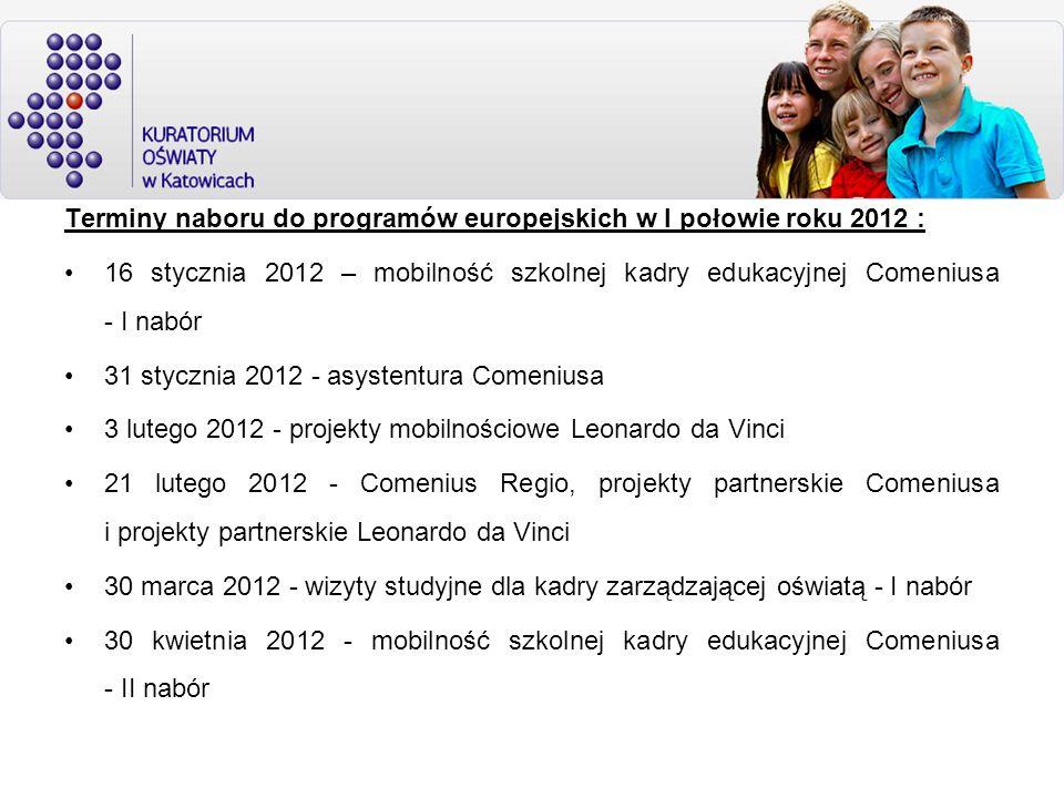 Terminy naboru do programów europejskich w I połowie roku 2012 :