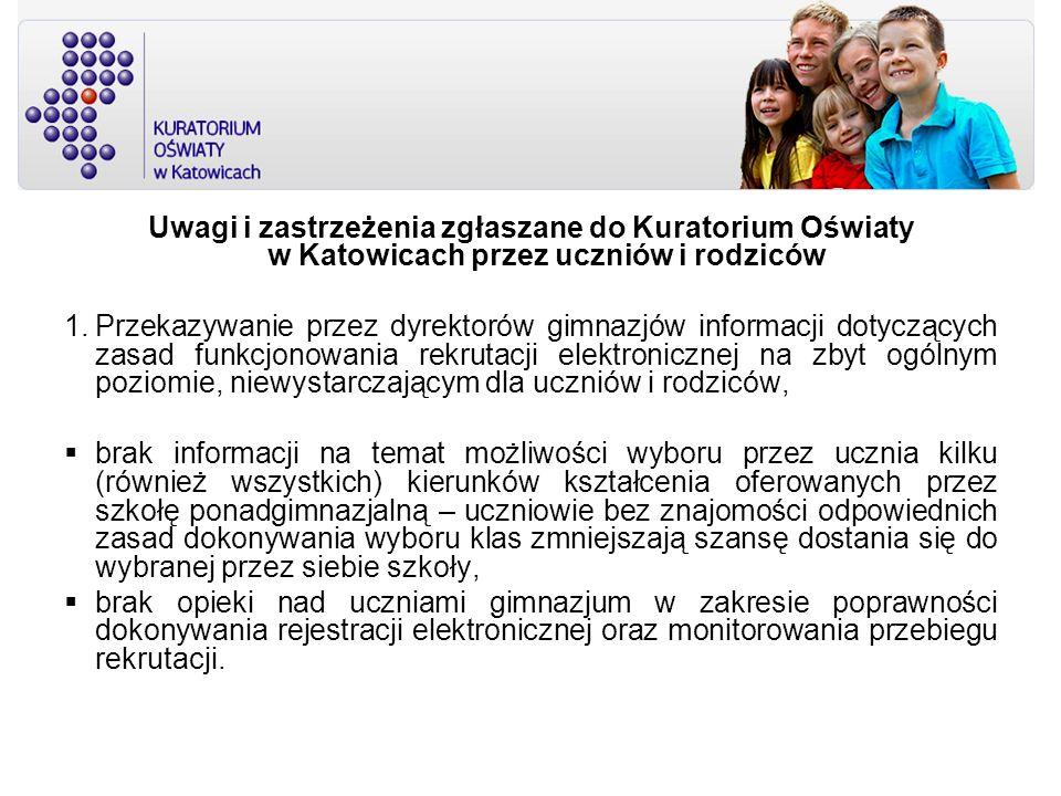 Uwagi i zastrzeżenia zgłaszane do Kuratorium Oświaty w Katowicach przez uczniów i rodziców