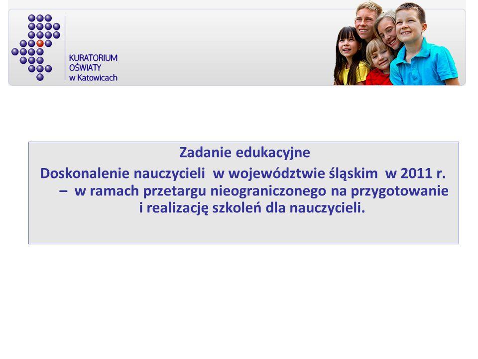 Zadanie edukacyjne Doskonalenie nauczycieli w województwie śląskim w 2011 r.