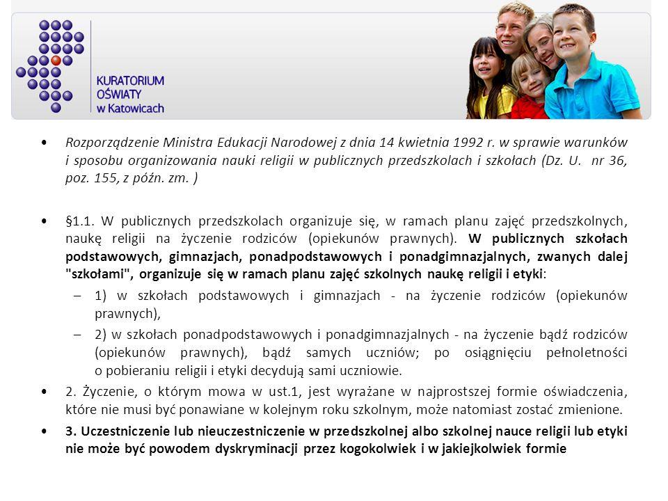 Rozporządzenie Ministra Edukacji Narodowej z dnia 14 kwietnia 1992 r