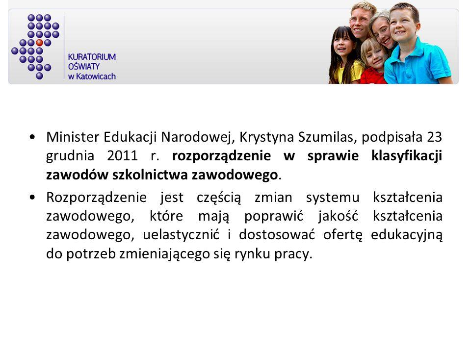 Minister Edukacji Narodowej, Krystyna Szumilas, podpisała 23 grudnia 2011 r. rozporządzenie w sprawie klasyfikacji zawodów szkolnictwa zawodowego.