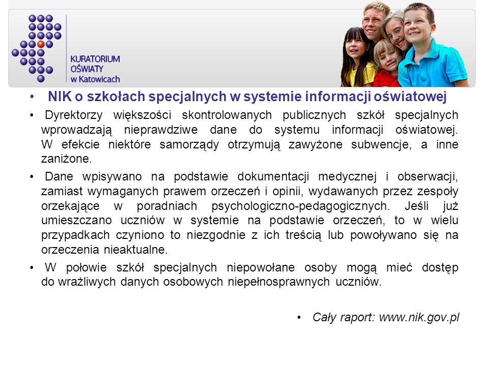 NIK o szkołach specjalnych w systemie informacji oświatowej