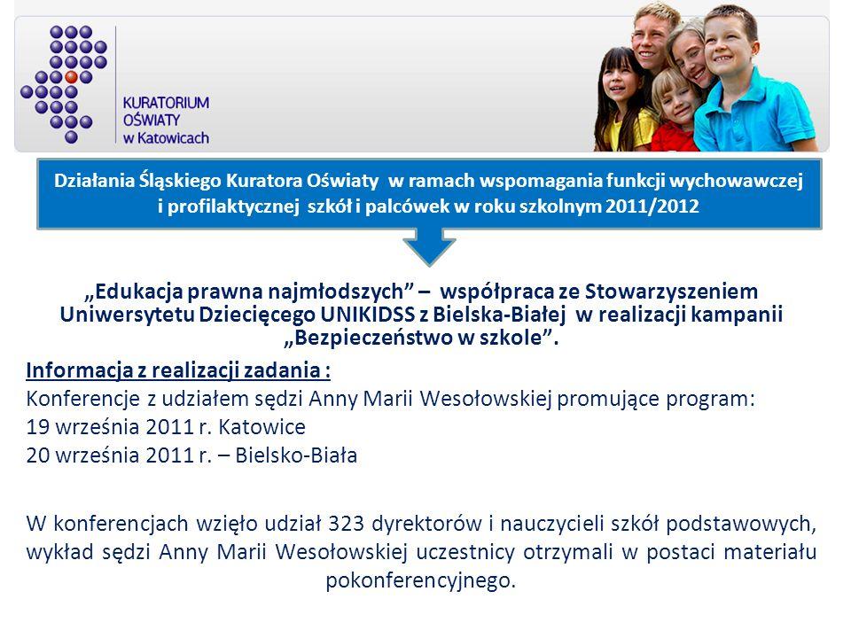 Działania Śląskiego Kuratora Oświaty w ramach wspomagania funkcji wychowawczej i profilaktycznej szkół i palcówek w roku szkolnym 2011/2012