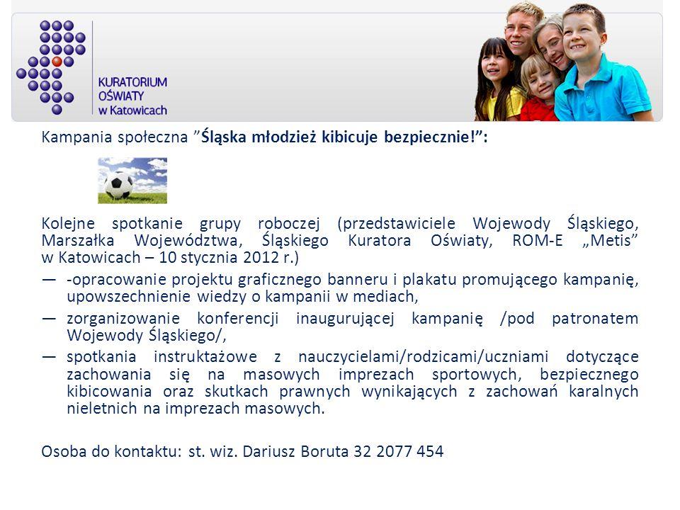 Kampania społeczna Śląska młodzież kibicuje bezpiecznie! :