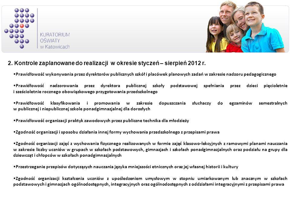 2. Kontrole zaplanowane do realizacji w okresie styczeń – sierpień 2012 r.