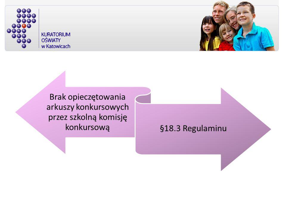 Brak opieczętowania arkuszy konkursowych przez szkolną komisję konkursową