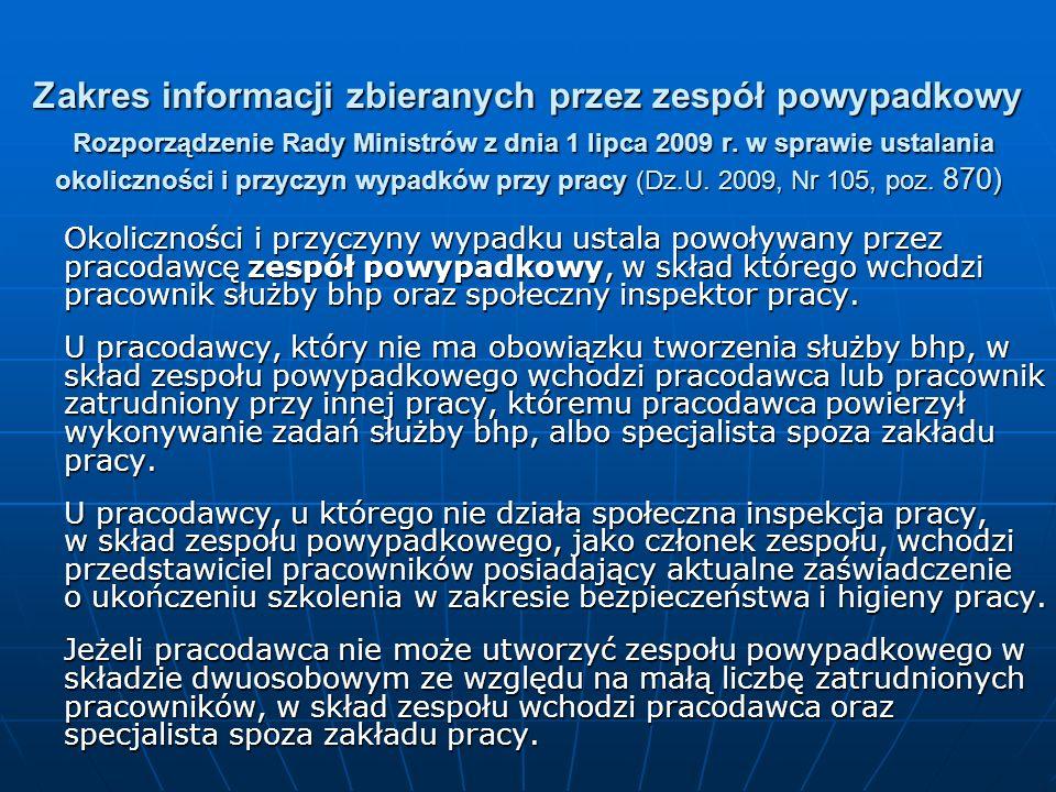 Zakres informacji zbieranych przez zespół powypadkowy Rozporządzenie Rady Ministrów z dnia 1 lipca 2009 r. w sprawie ustalania okoliczności i przyczyn wypadków przy pracy (Dz.U. 2009, Nr 105, poz. 870)