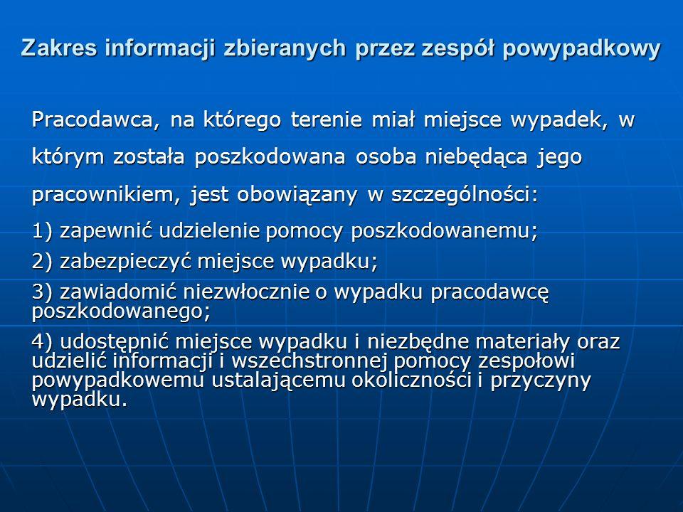 Zakres informacji zbieranych przez zespół powypadkowy
