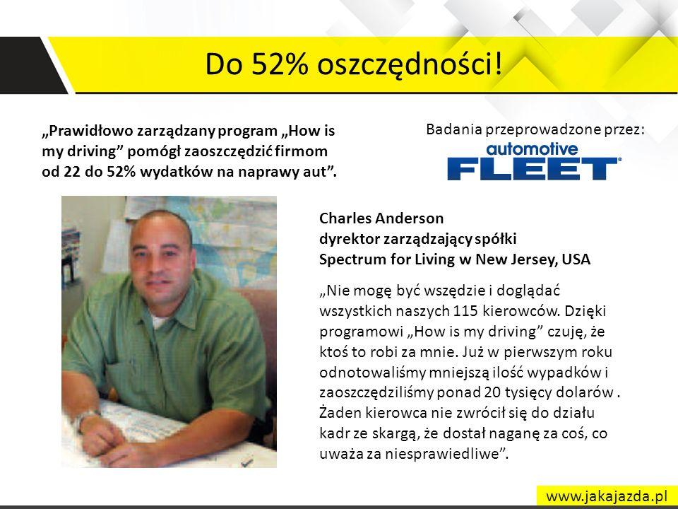 """Do 52% oszczędności! """"Prawidłowo zarządzany program """"How is my driving pomógł zaoszczędzić firmom od 22 do 52% wydatków na naprawy aut ."""