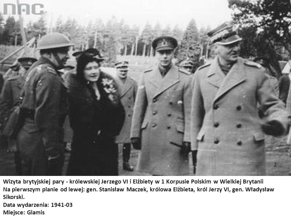 Wizyta brytyjskiej pary - królewskiej Jerzego VI i Elżbiety w 1 Korpusie Polskim w Wielkiej Brytanii