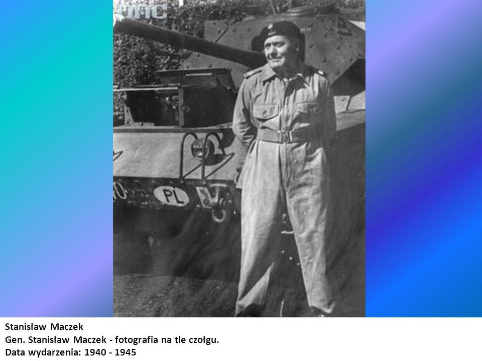 Stanisław Maczek Gen. Stanisław Maczek - fotografia na tle czołgu. Data wydarzenia: 1940 - 1945