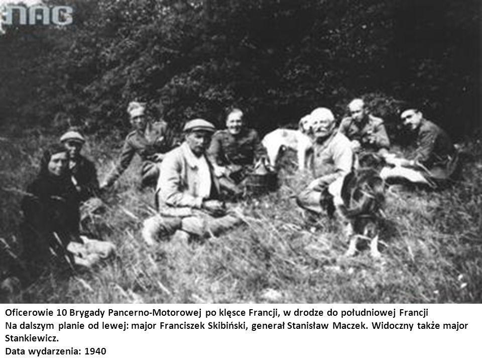 Oficerowie 10 Brygady Pancerno-Motorowej po klęsce Francji, w drodze do południowej Francji