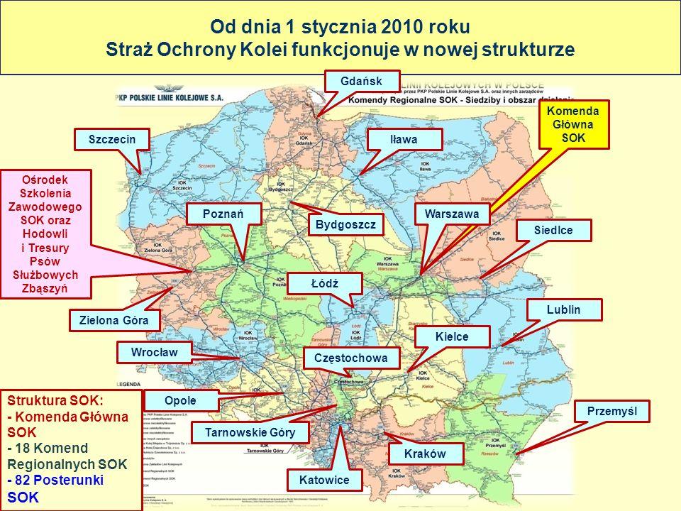 Od dnia 1 stycznia 2010 roku Straż Ochrony Kolei funkcjonuje w nowej strukturze
