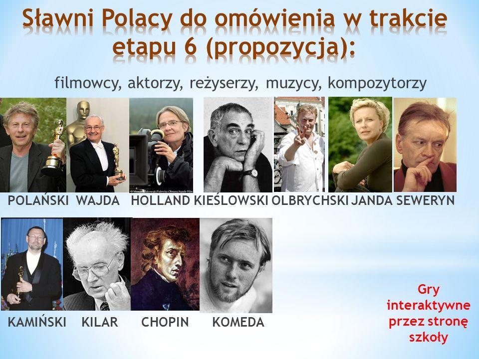 Sławni Polacy do omówienia w trakcie etapu 6 (propozycja):