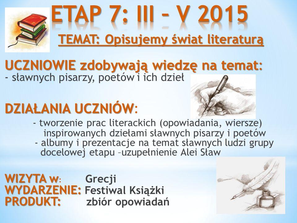 ETAP 7: III – V 2015 TEMAT: Opisujemy świat literaturą UCZNIOWIE zdobywają wiedzę na temat: - sławnych pisarzy, poetów i ich dzieł.