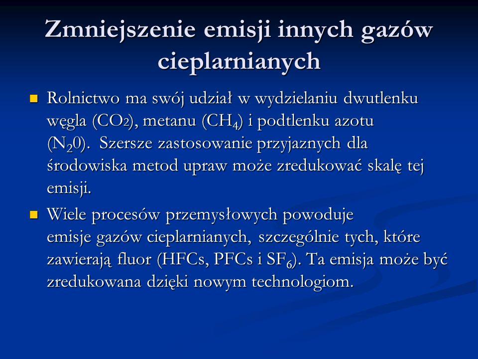 Zmniejszenie emisji innych gazów cieplarnianych