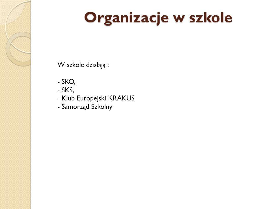 Organizacje w szkole W szkole działają : - SKO, - SKS, - Klub Europejski KRAKUS - Samorząd Szkolny.