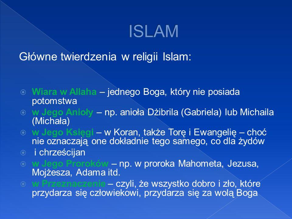 ISLAM Główne twierdzenia w religii Islam: