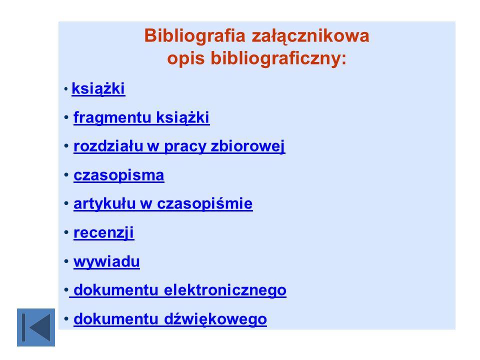 Bibliografia załącznikowa opis bibliograficzny: